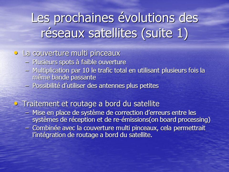 Les prochaines évolutions des réseaux satellites (suite 1) La couverture multi pinceaux La couverture multi pinceaux –Plusieurs spots à faible ouvertu