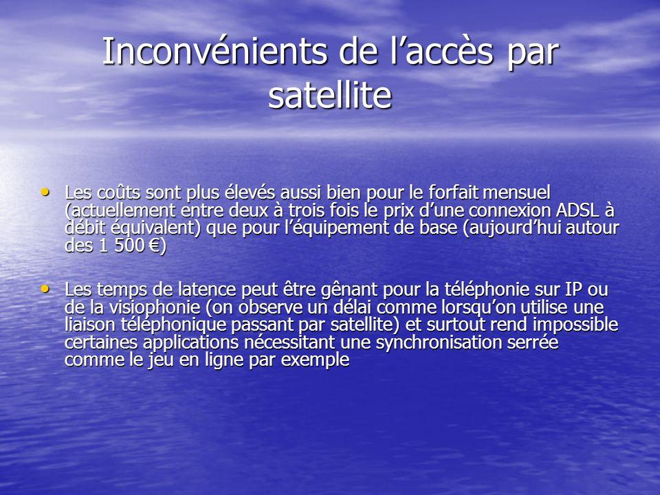 Inconvénients de laccès par satellite Les coûts sont plus élevés aussi bien pour le forfait mensuel (actuellement entre deux à trois fois le prix dune