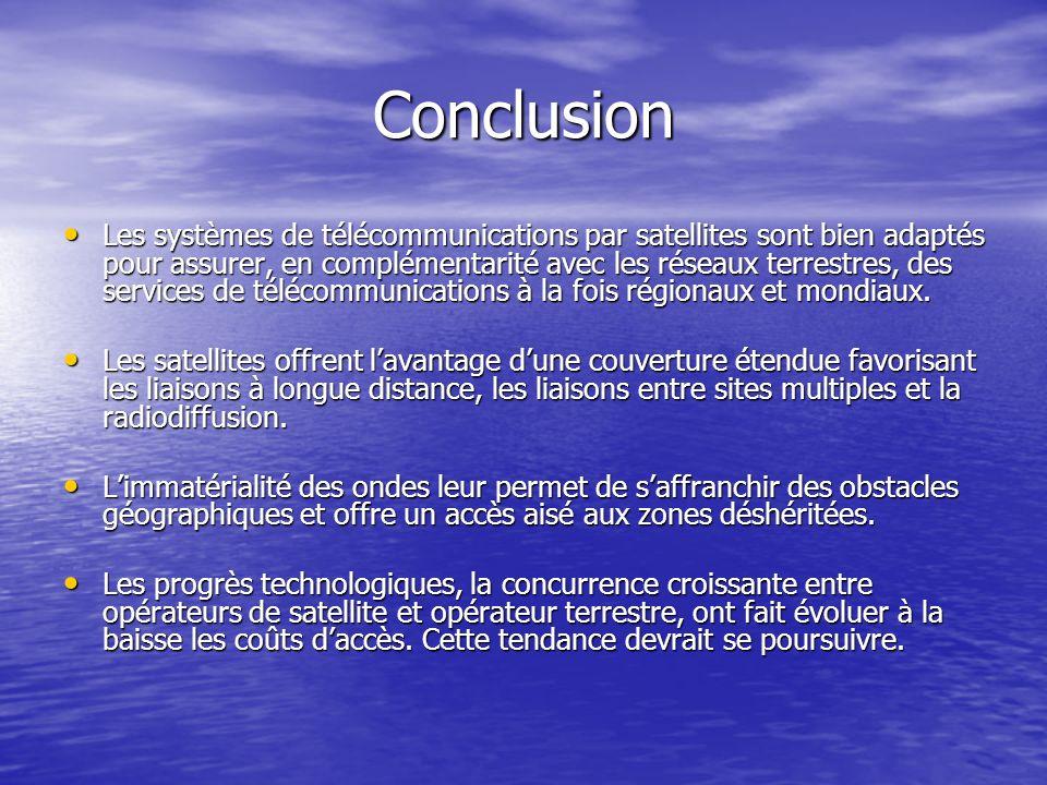 Conclusion Les systèmes de télécommunications par satellites sont bien adaptés pour assurer, en complémentarité avec les réseaux terrestres, des servi