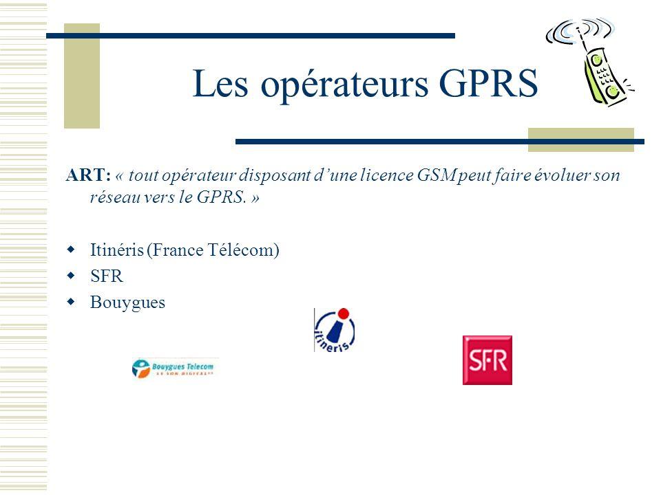 Les opérateurs GPRS ART: « tout opérateur disposant dune licence GSM peut faire évoluer son réseau vers le GPRS.