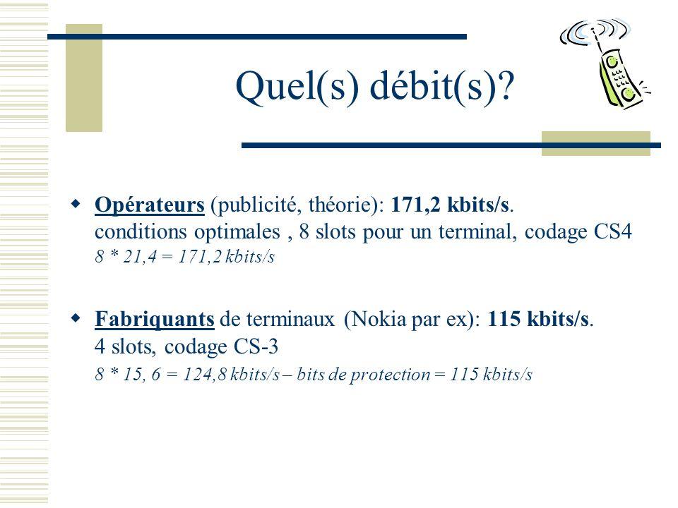 Quel(s) débit(s).Opérateurs (publicité, théorie): 171,2 kbits/s.
