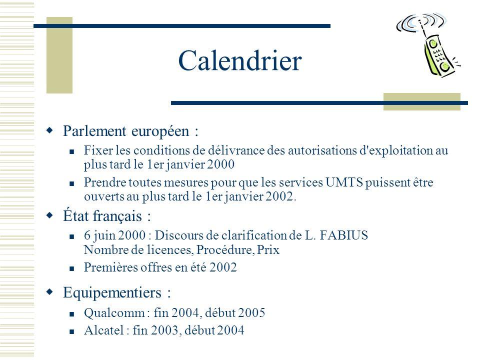 Calendrier Parlement européen : Fixer les conditions de délivrance des autorisations d exploitation au plus tard le 1er janvier 2000 Prendre toutes mesures pour que les services UMTS puissent être ouverts au plus tard le 1er janvier 2002.