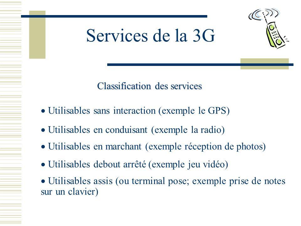 Services de la 3G Classification des services Utilisables sans interaction (exemple le GPS) Utilisables en conduisant (exemple la radio) Utilisables en marchant (exemple réception de photos) Utilisables debout arrêté (exemple jeu vidéo) Utilisables assis (ou terminal pose; exemple prise de notes sur un clavier)