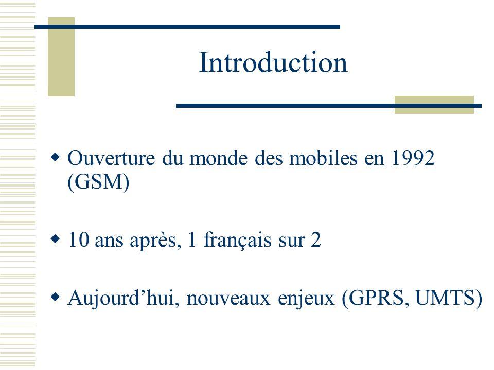 Introduction Ouverture du monde des mobiles en 1992 (GSM) 10 ans après, 1 français sur 2 Aujourdhui, nouveaux enjeux (GPRS, UMTS)