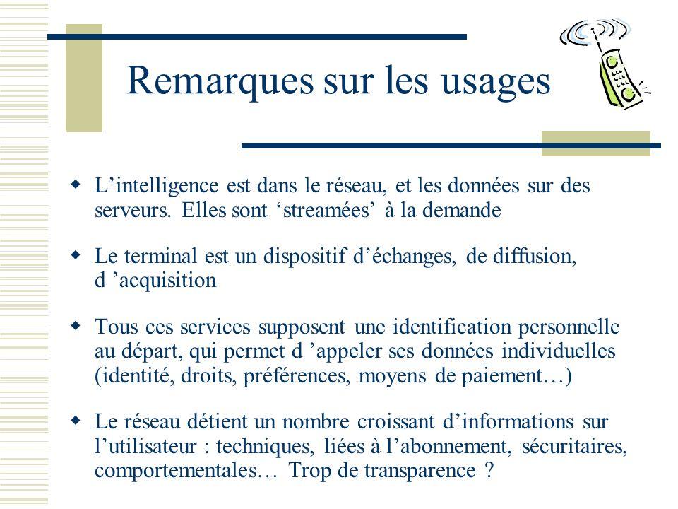 Remarques sur les usages Lintelligence est dans le réseau, et les données sur des serveurs.
