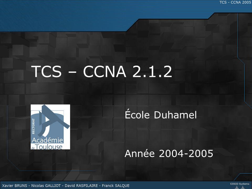 1 TCS – CCNA 2.1.2 École Duhamel Année 2004-2005