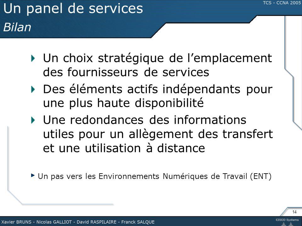 14 Un panel de services Bilan Un choix stratégique de lemplacement des fournisseurs de services Des éléments actifs indépendants pour une plus haute d