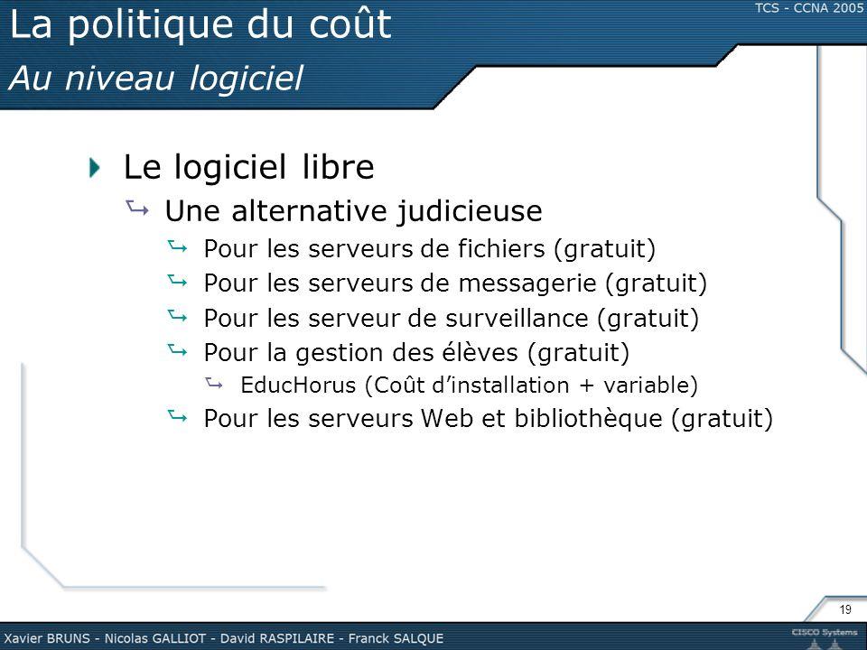 19 La politique du coût Au niveau logiciel Le logiciel libre Une alternative judicieuse Pour les serveurs de fichiers (gratuit) Pour les serveurs de m
