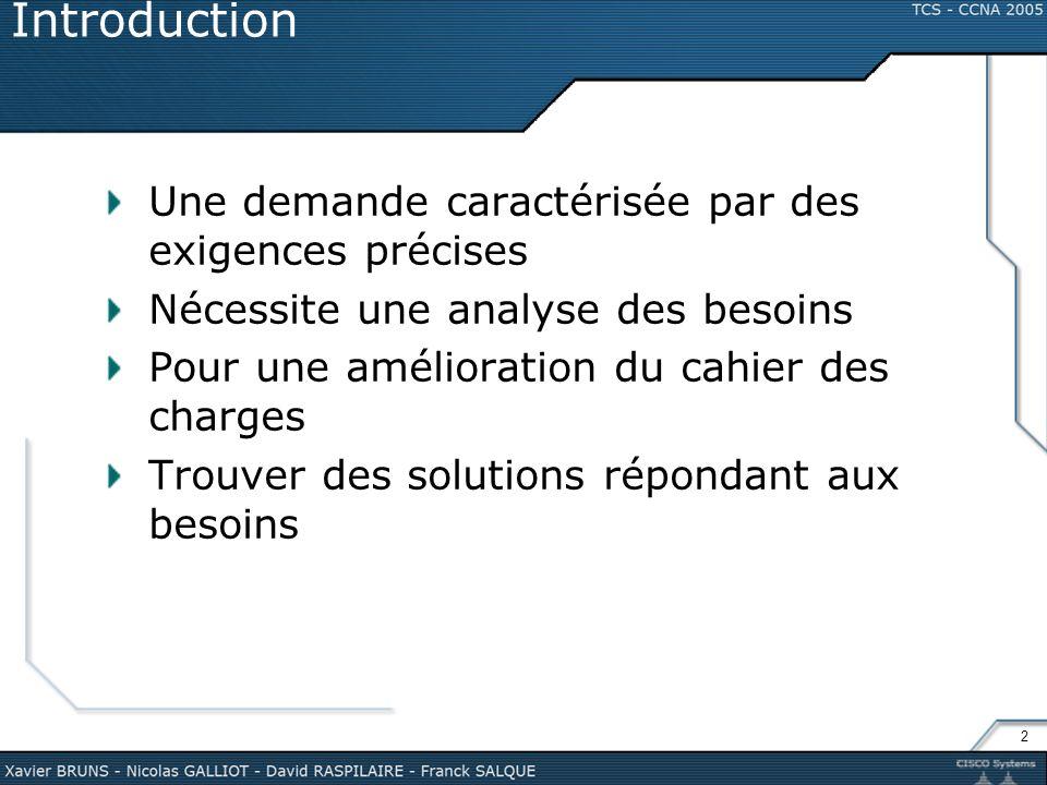 2 Introduction Une demande caractérisée par des exigences précises Nécessite une analyse des besoins Pour une amélioration du cahier des charges Trouv