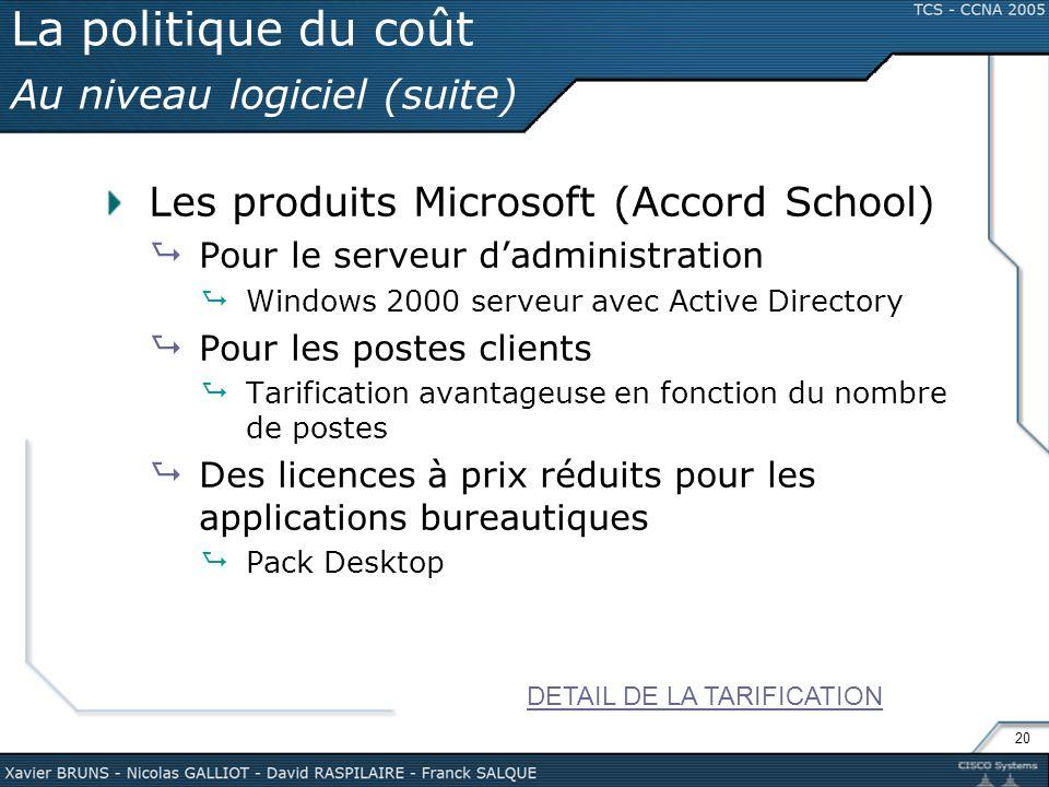 20 La politique du coût Au niveau logiciel (suite) Les produits Microsoft (Accord School) Pour le serveur dadministration Windows 2000 serveur avec Ac