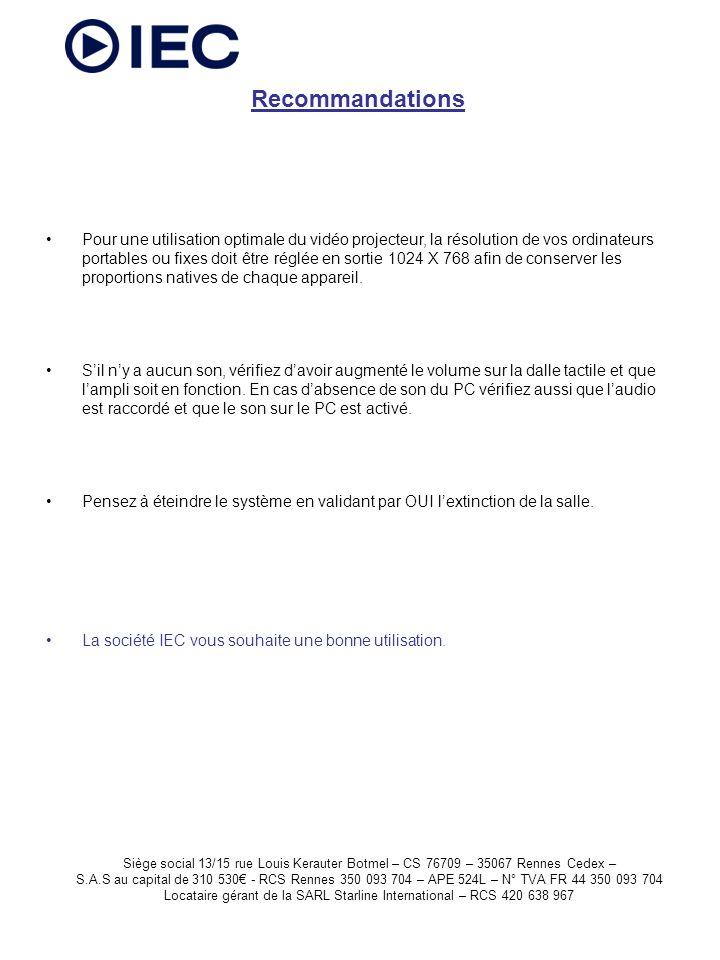 Siège social 13/15 rue Louis Kerauter Botmel – CS 76709 – 35067 Rennes Cedex – S.A.S au capital de 310 530 - RCS Rennes 350 093 704 – APE 524L – N° TVA FR 44 350 093 704 Locataire gérant de la SARL Starline International – RCS 420 638 967 Pour une utilisation optimale du vidéo projecteur, la résolution de vos ordinateurs portables ou fixes doit être réglée en sortie 1024 X 768 afin de conserver les proportions natives de chaque appareil.