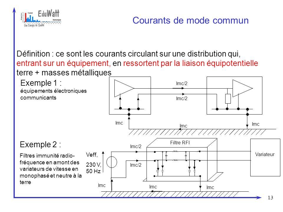 13 Courants de mode commun Définition : ce sont les courants circulant sur une distribution qui, entrant sur un équipement, en ressortent par la liais