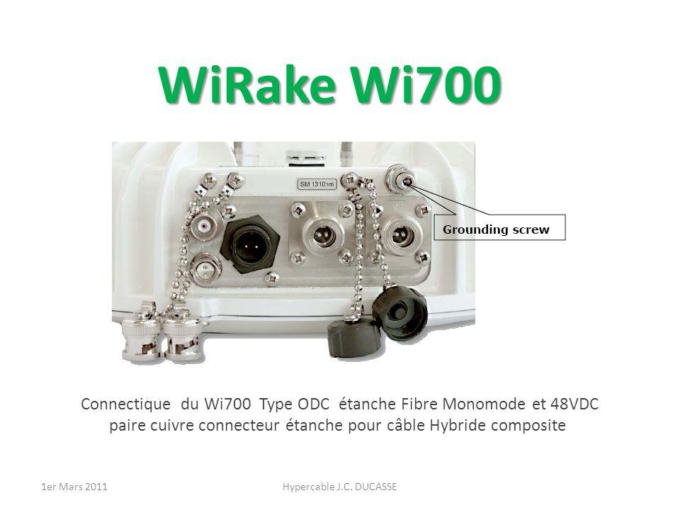 WiRake Wi700 Connectique du Wi700 Type ODC étanche Fibre Monomode et 48VDC paire cuivre connecteur étanche pour câble Hybride composite Hypercable J.C