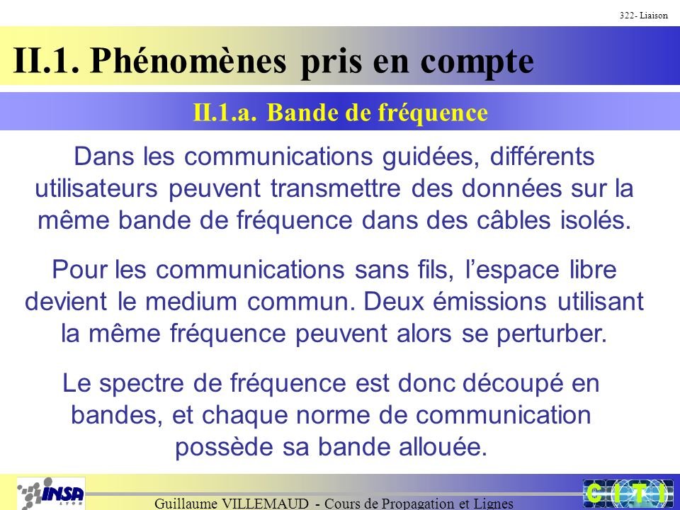 Guillaume VILLEMAUD - Cours de Propagation et Lignes II.1. Phénomènes pris en compte 322- Liaison Dans les communications guidées, différents utilisat