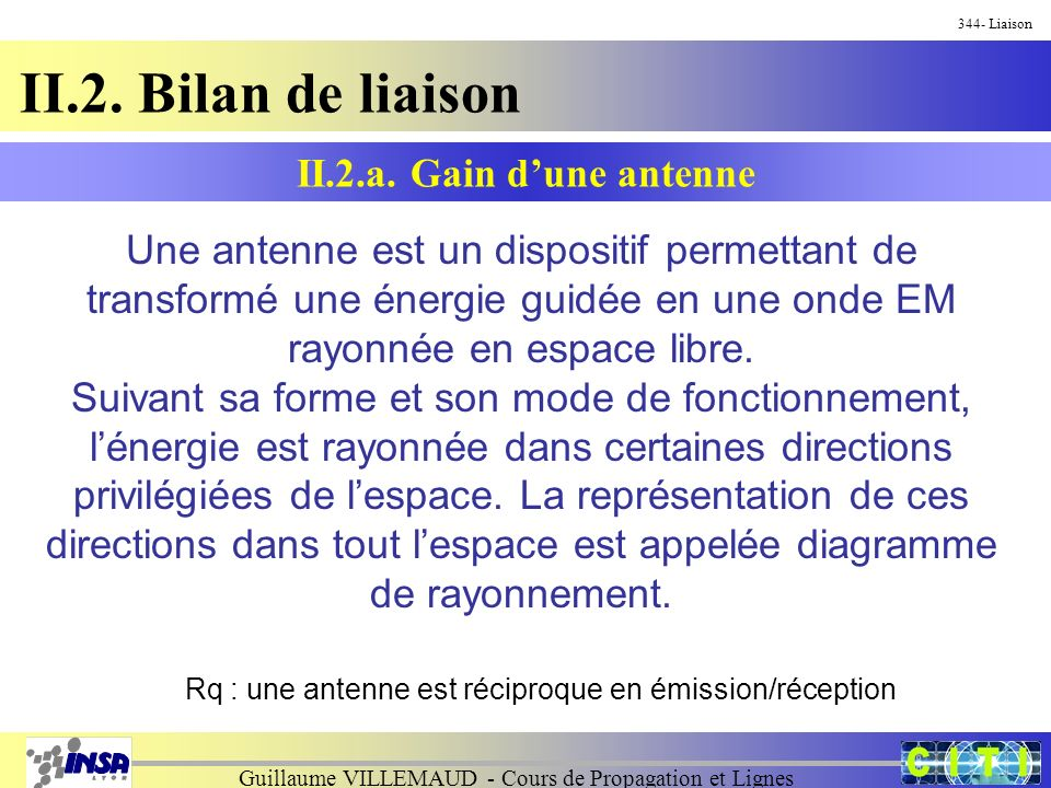 Guillaume VILLEMAUD - Cours de Propagation et Lignes 344- Liaison II.2. Bilan de liaison Une antenne est un dispositif permettant de transformé une én