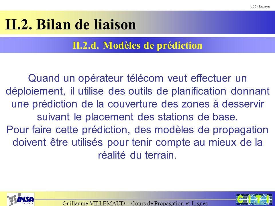 Guillaume VILLEMAUD - Cours de Propagation et Lignes 365- Liaison II.2. Bilan de liaison II.2.d. Modèles de prédiction Quand un opérateur télécom veut