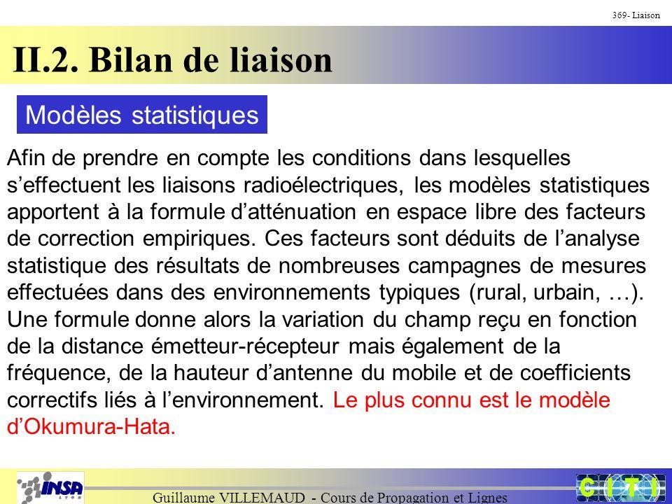 Guillaume VILLEMAUD - Cours de Propagation et Lignes 369- Liaison II.2. Bilan de liaison Modèles statistiques Afin de prendre en compte les conditions