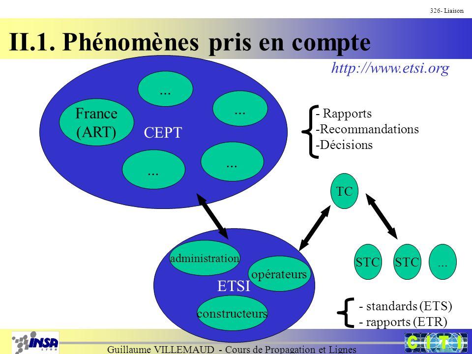 Guillaume VILLEMAUD - Cours de Propagation et Lignes CEPT France (ART)... ETSI - Rapports -Recommandations -Décisions opérateurs constructeurs adminis