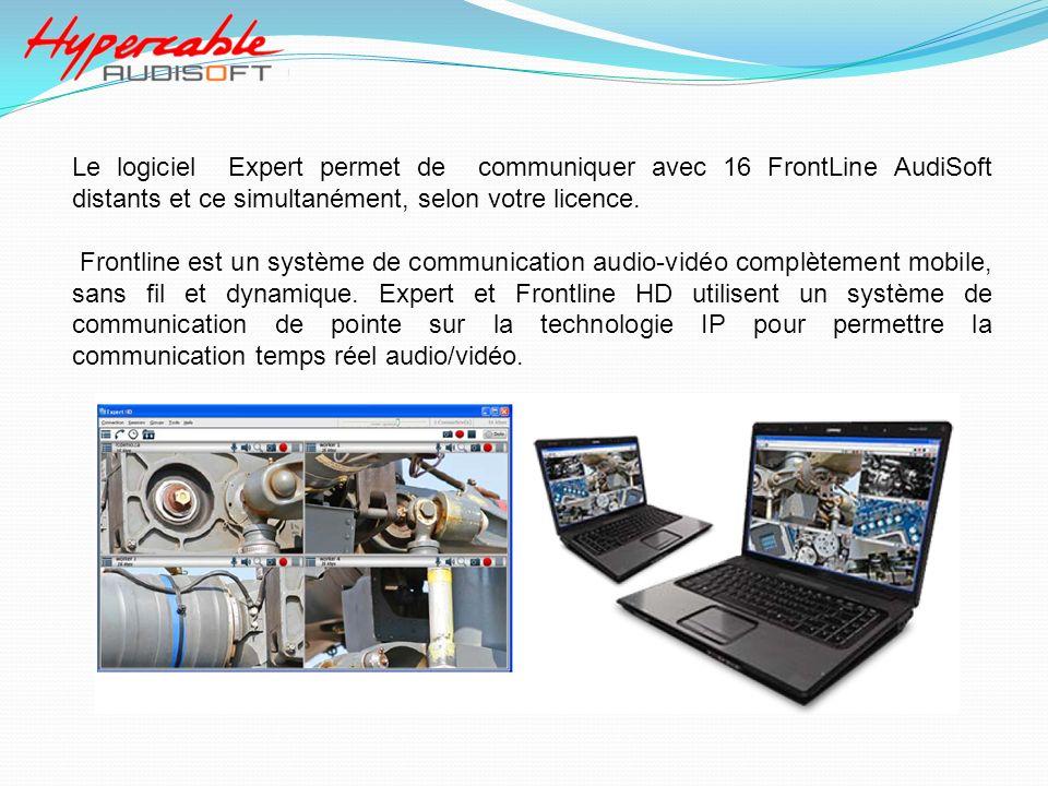 Le logiciel Expert permet de communiquer avec 16 FrontLine AudiSoft distants et ce simultanément, selon votre licence. Frontline est un système de com