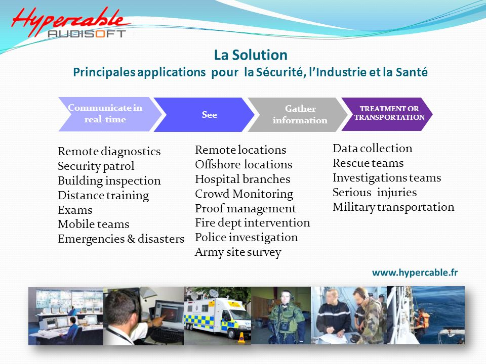 Communicate in real-time TREATMENT OR TRANSPORTATION Remote diagnostics Security patrol Building inspection Distance training Exams Mobile teams Emerg