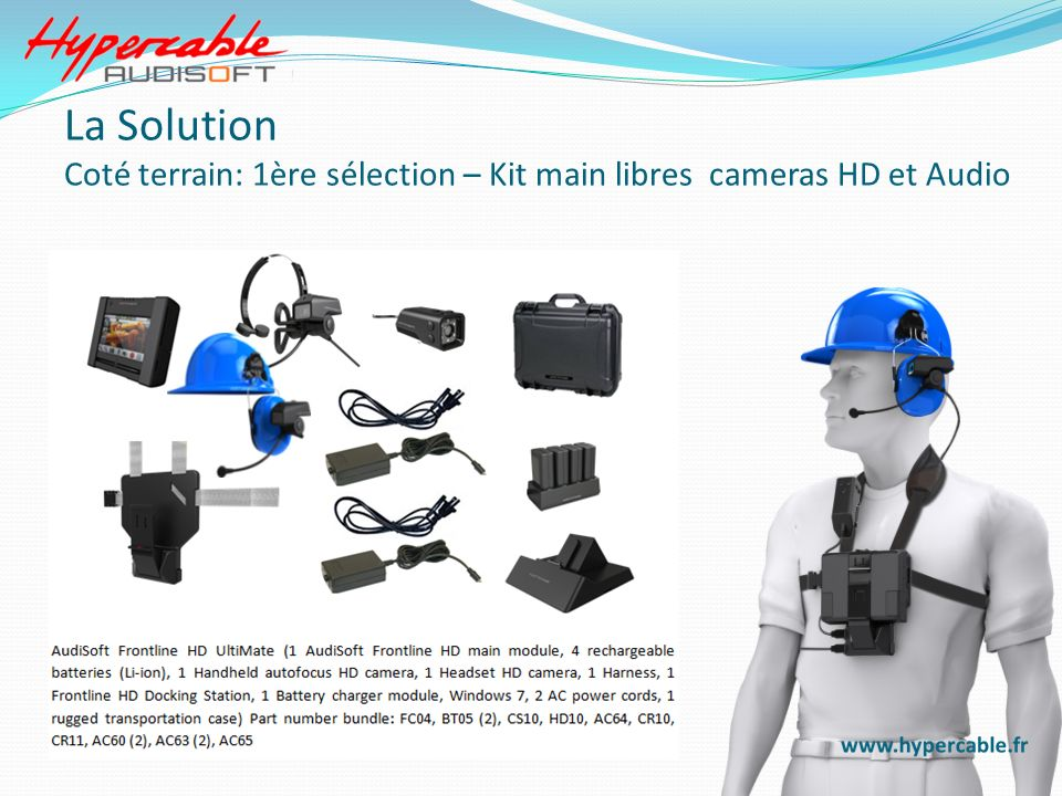 Headset & Software Dual Cameras & Software Handheld & Software La Solution Sur le terrain: 2° Sélection cameras et tablet PC avec le software applicatif