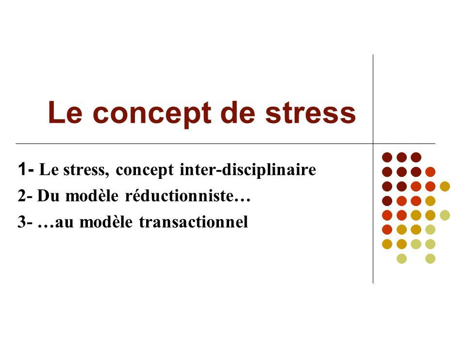 Le concept de stress 1- Le stress, concept inter-disciplinaire 2- Du modèle réductionniste… 3- …au modèle transactionnel