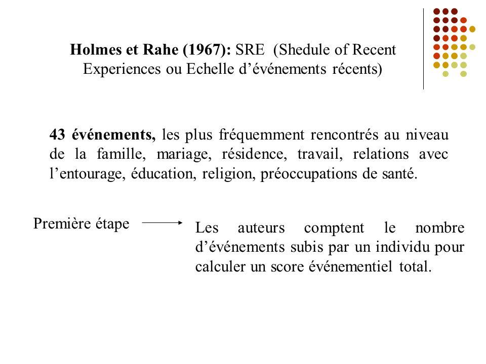 Holmes et Rahe (1967): SRE (Shedule of Recent Experiences ou Echelle dévénements récents) 43 événements, les plus fréquemment rencontrés au niveau de la famille, mariage, résidence, travail, relations avec lentourage, éducation, religion, préoccupations de santé.