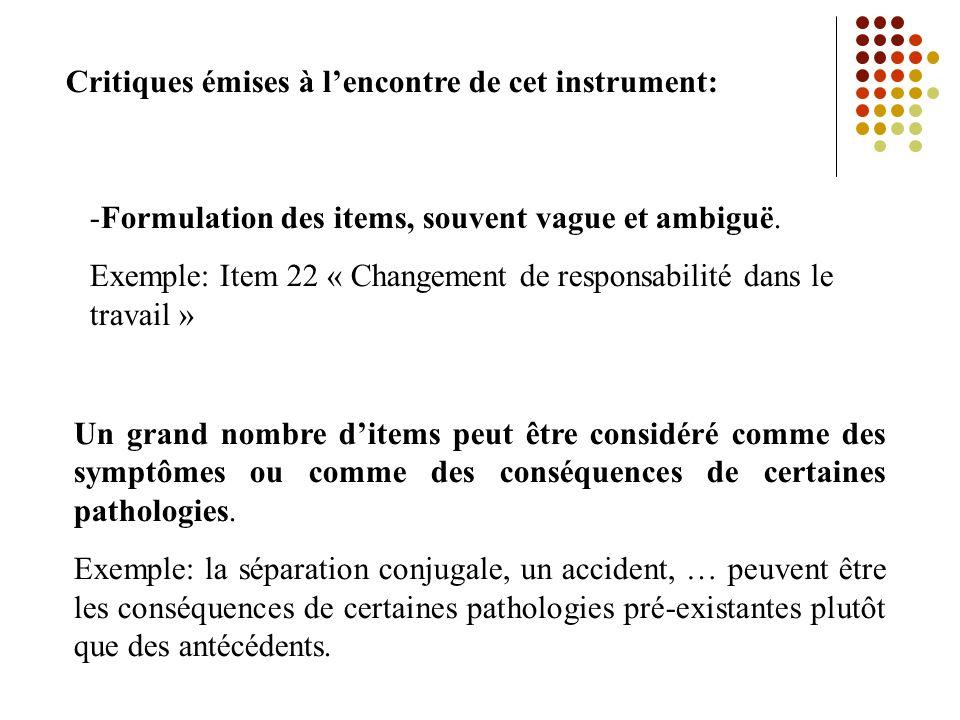 Critiques émises à lencontre de cet instrument: -Formulation des items, souvent vague et ambiguë.