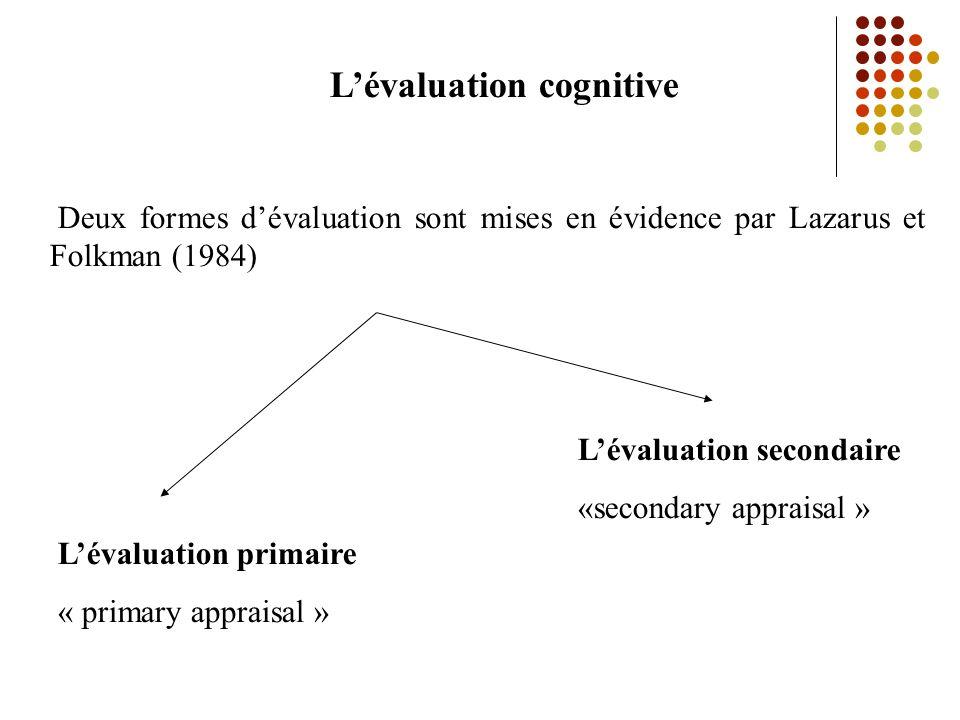 Lévaluation cognitive Deux formes dévaluation sont mises en évidence par Lazarus et Folkman (1984) Lévaluation primaire « primary appraisal » Lévaluation secondaire «secondary appraisal »