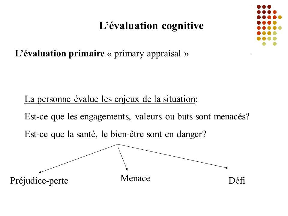 Lévaluation cognitive Lévaluation primaire « primary appraisal » La personne évalue les enjeux de la situation: Est-ce que les engagements, valeurs ou buts sont menacés.