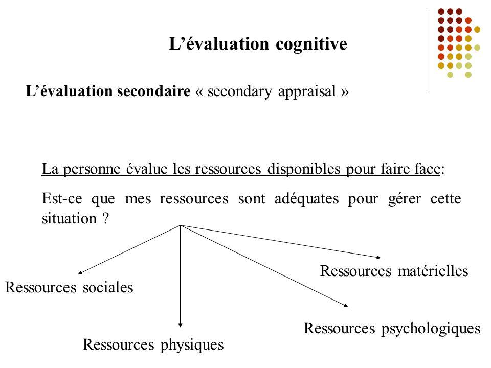 Lévaluation cognitive Lévaluation secondaire « secondary appraisal » La personne évalue les ressources disponibles pour faire face: Est-ce que mes ressources sont adéquates pour gérer cette situation .