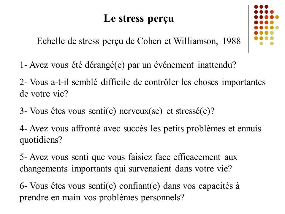 Le stress perçu Echelle de stress perçu de Cohen et Williamson, 1988 1- Avez vous été dérangé(e) par un événement inattendu.