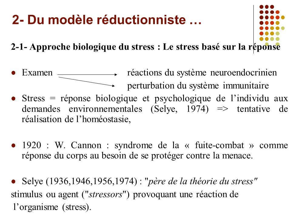 2- Du modèle réductionniste … 2-1- Approche biologique du stress : Le stress basé sur la réponse Examenréactions du système neuroendocrinien perturbation du système immunitaire Stress = réponse biologique et psychologique de lindividu aux demandes environnementales (Selye, 1974) => tentative de réalisation de lhoméostasie, 1920 : W.