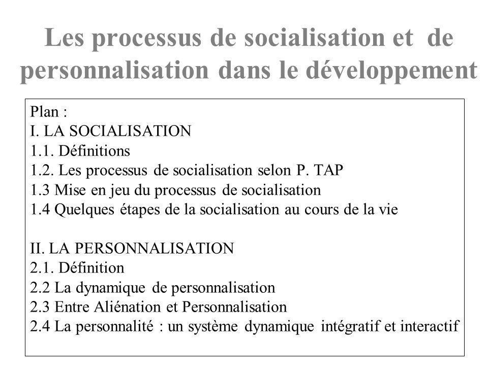 Plan : I.LA SOCIALISATION 1.1. Définitions 1.2. Les processus de socialisation selon P.