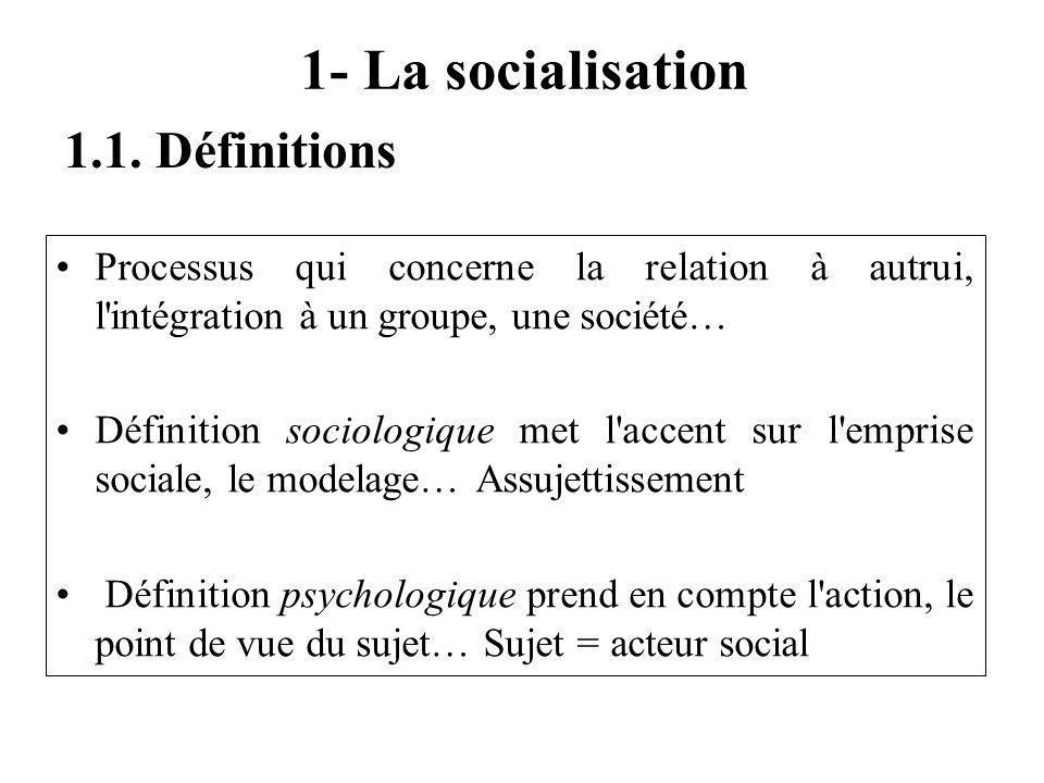 1- La socialisation Processus qui concerne la relation à autrui, l intégration à un groupe, une société… Définition sociologique met l accent sur l emprise sociale, le modelage… Assujettissement Définition psychologique prend en compte l action, le point de vue du sujet… Sujet = acteur social 1.1.