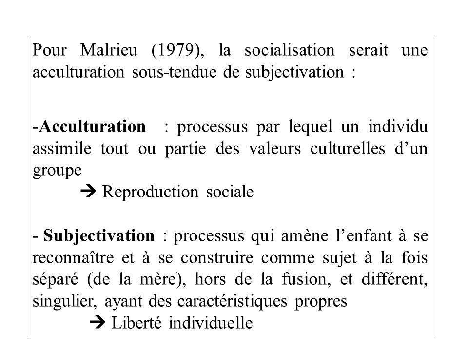Pour Malrieu (1979), la socialisation serait une acculturation sous-tendue de subjectivation : -Acculturation : processus par lequel un individu assimile tout ou partie des valeurs culturelles dun groupe Reproduction sociale - Subjectivation : processus qui amène lenfant à se reconnaître et à se construire comme sujet à la fois séparé (de la mère), hors de la fusion, et différent, singulier, ayant des caractéristiques propres Liberté individuelle
