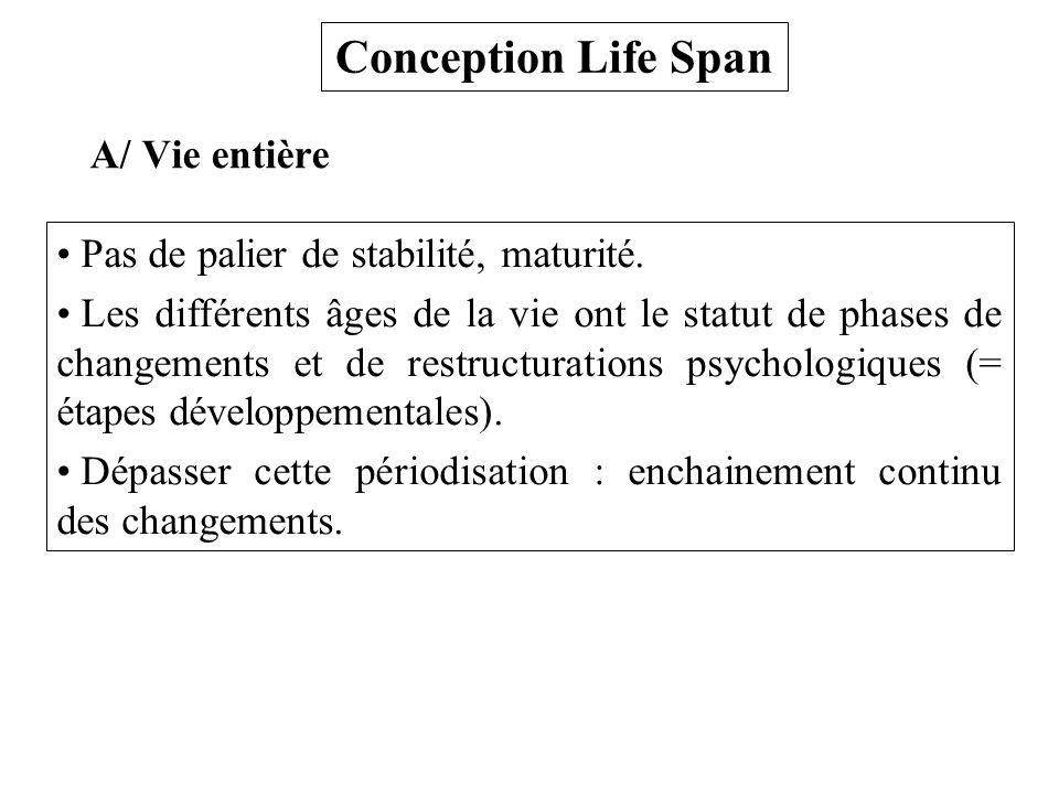 Conception Life Span A/ Vie entière Pas de palier de stabilité, maturité. Les différents âges de la vie ont le statut de phases de changements et de r