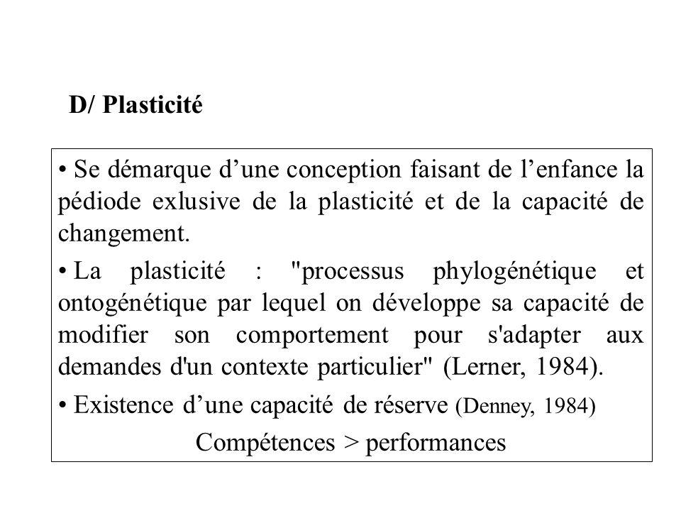 D/ Plasticité Se démarque dune conception faisant de lenfance la pédiode exlusive de la plasticité et de la capacité de changement. La plasticité :
