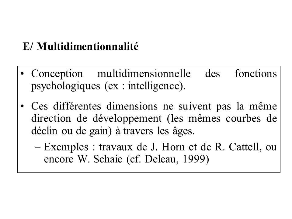Conception multidimensionnelle des fonctions psychologiques (ex : intelligence). Ces différentes dimensions ne suivent pas la même direction de dévelo