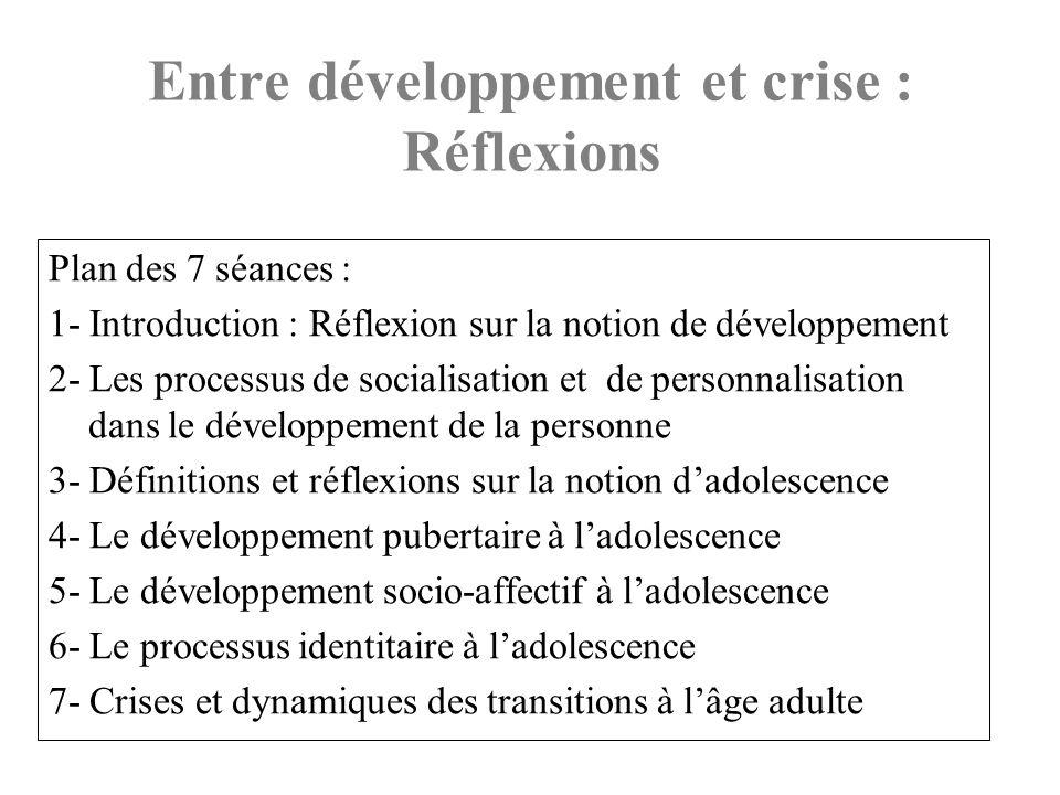 Entre développement et crise : Réflexions Plan des 7 séances : 1- Introduction : Réflexion sur la notion de développement 2- Les processus de socialis