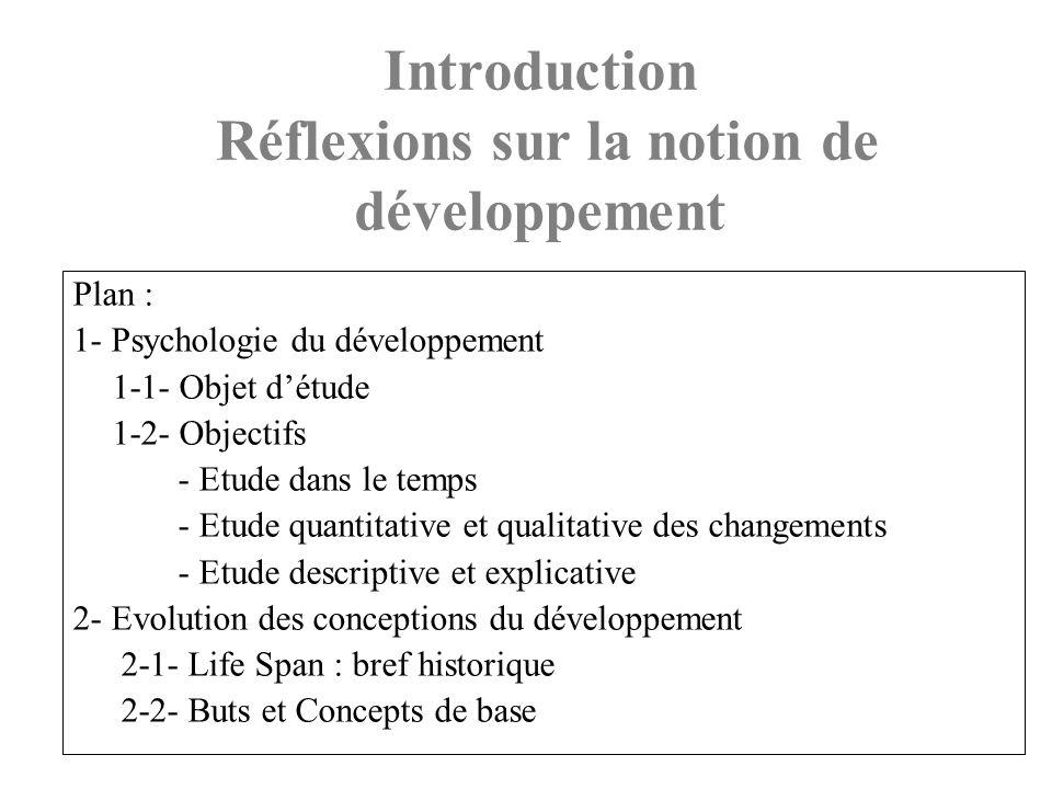 Plan : 1- Psychologie du développement 1-1- Objet détude 1-2- Objectifs - Etude dans le temps - Etude quantitative et qualitative des changements - Et