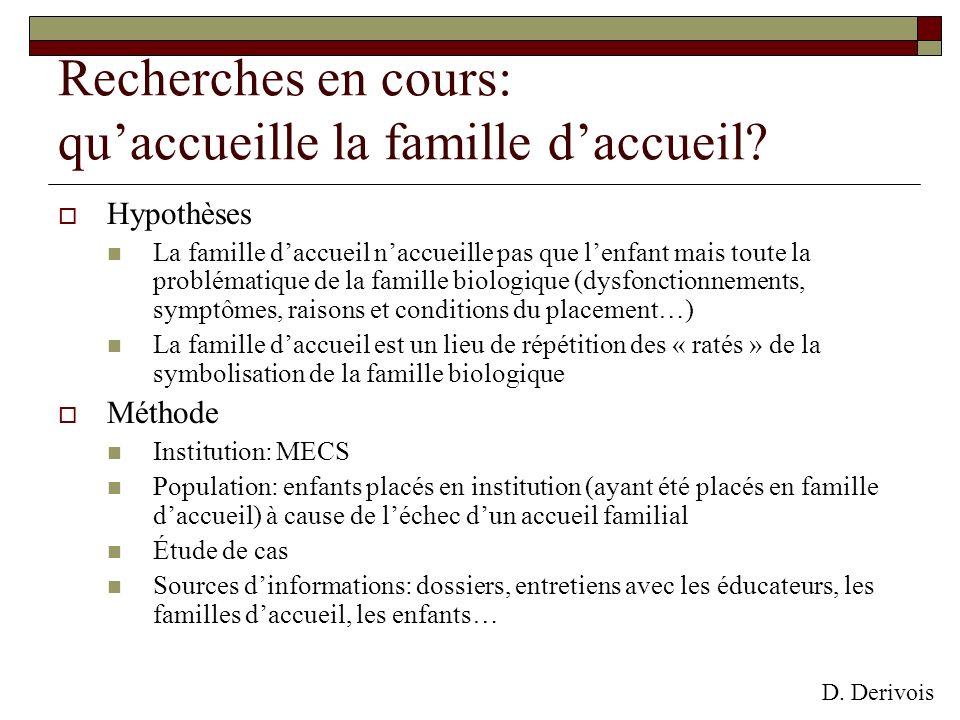 Recherches en cours: quaccueille la famille daccueil? Hypothèses La famille daccueil naccueille pas que lenfant mais toute la problématique de la fami
