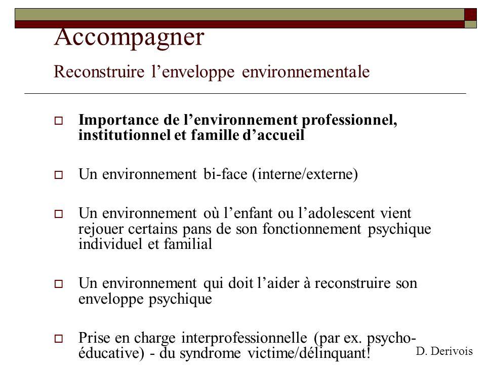 Accompagner Reconstruire lenveloppe environnementale Importance de lenvironnement professionnel, institutionnel et famille daccueil Un environnement b