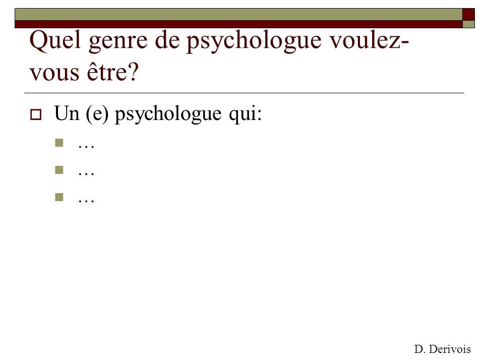 Quel genre de psychologue voulez- vous être? Un (e) psychologue qui: … D. Derivois