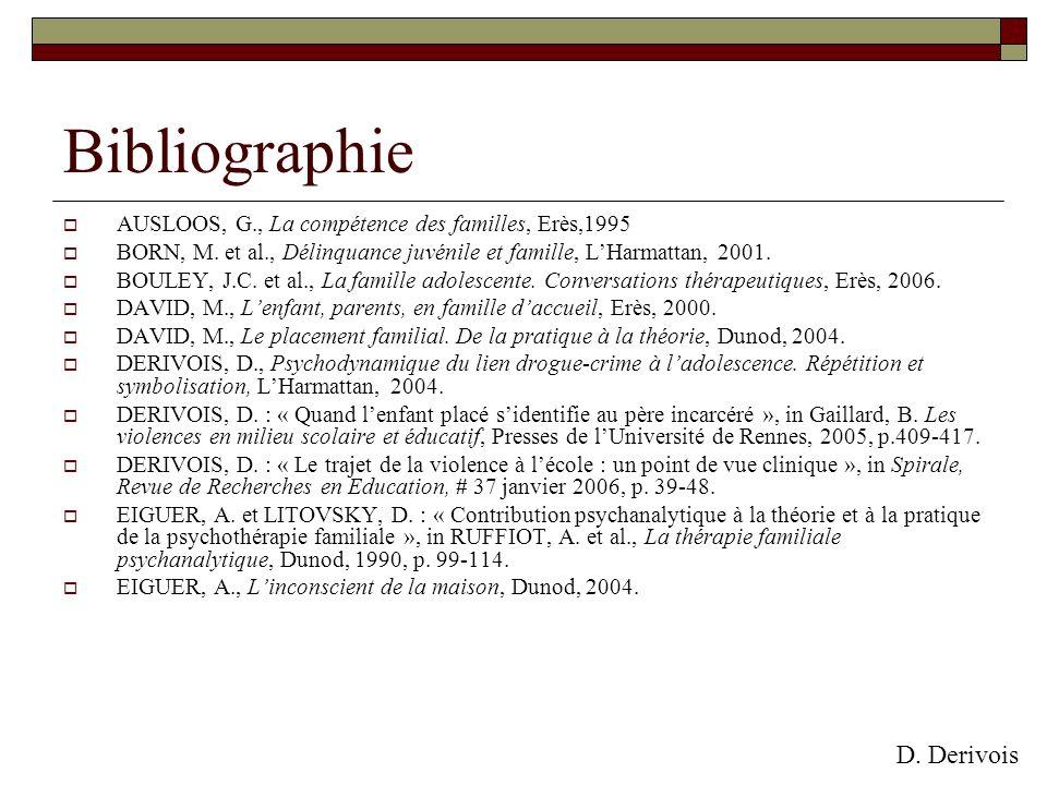 Bibliographie AUSLOOS, G., La compétence des familles, Erès,1995 BORN, M. et al., Délinquance juvénile et famille, LHarmattan, 2001. BOULEY, J.C. et a