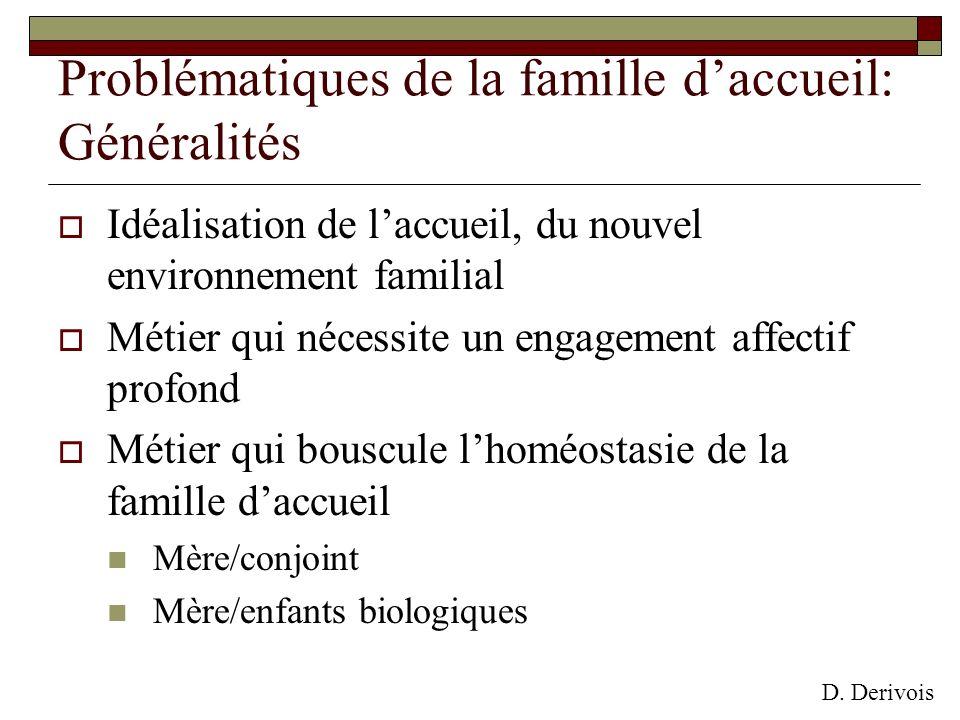Problématiques de la famille daccueil: Généralités Idéalisation de laccueil, du nouvel environnement familial Métier qui nécessite un engagement affec