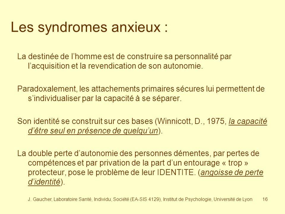 J. Gaucher, Laboratoire Santé, Individu, Société (EA-SIS 4129), Institut de Psychologie, Université de Lyon15 Dans le travail du vieillir, le bilan de