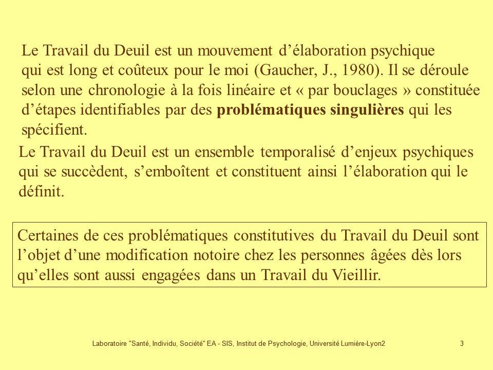 Laboratoire Santé, Individu, Société EA - SIS, Institut de Psychologie, Université Lumière-Lyon2 3 3 Le Travail du Deuil est un mouvement délaboration psychique qui est long et coûteux pour le moi (Gaucher, J., 1980).