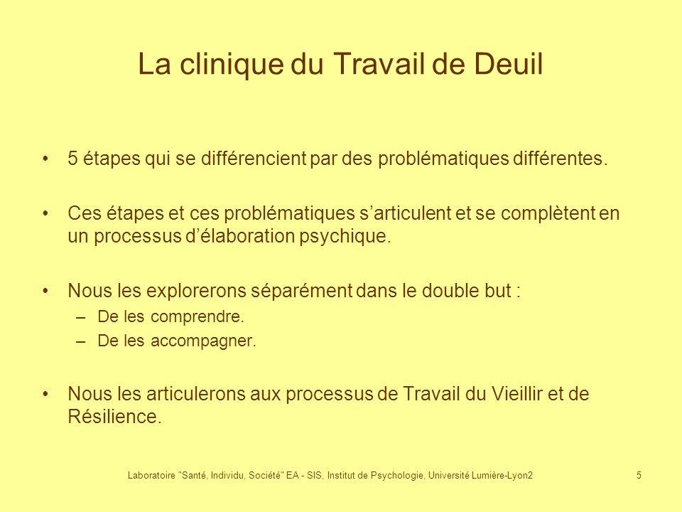 Laboratoire Santé, Individu, Société EA - SIS, Institut de Psychologie, Université Lumière-Lyon2 5 La clinique du Travail de Deuil 5 étapes qui se différencient par des problématiques différentes.