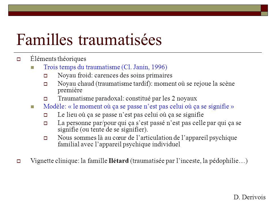 Familles traumatisées Éléments théoriques Trois temps du traumatisme (Cl. Janin, 1996) Noyau froid: carences des soins primaires Noyau chaud (traumati